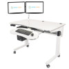 Power Lift Sit-to-Stand Desk System | Dual Spider  Monitor Arm