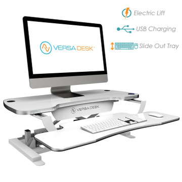 The PowerPro® Deluxe Sit Stand Desk Converter by VersaDesk | Premium Electric Height Adjustment | Effortless Sliding Keyboard Tray Adjustment | USB Charging Port | Three Grommet Holes for optional Monitor Mounts