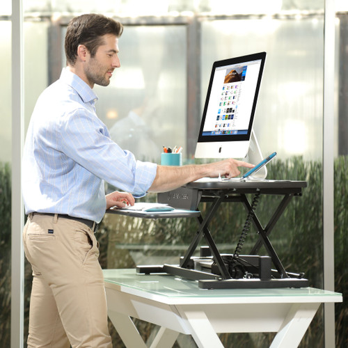 Want to charge your phone while at hands reach?  VersaDesk PowerPro® Plus Stand Up Desk comes with a built USB power source.