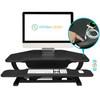 Corner sit stand desk | Black Matrix surface | VersaDesk