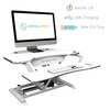PowerPro® Deluxe Corner Sit Stand Desk Converter   Electric sit stand desk powered by push button control   Built-in USB power source for your iPhone   VersaDesk