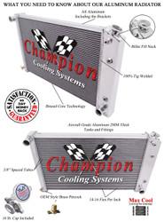1976 77 78 79 Cadillac Seville Champion 4-Row Core Aluminum Radiator