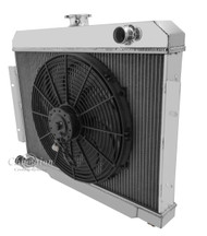1973-1985 Jeep CJ 3 Row Champion Alum Radiator Fan Combo