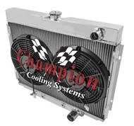 1967 68 69 70 Mercury Cougar 2 Row Champion Alum Radiator Fan Combo