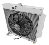 1963 64 65 66 67 Belvedere 3 Row Champion Alum Radiator Fan Combo
