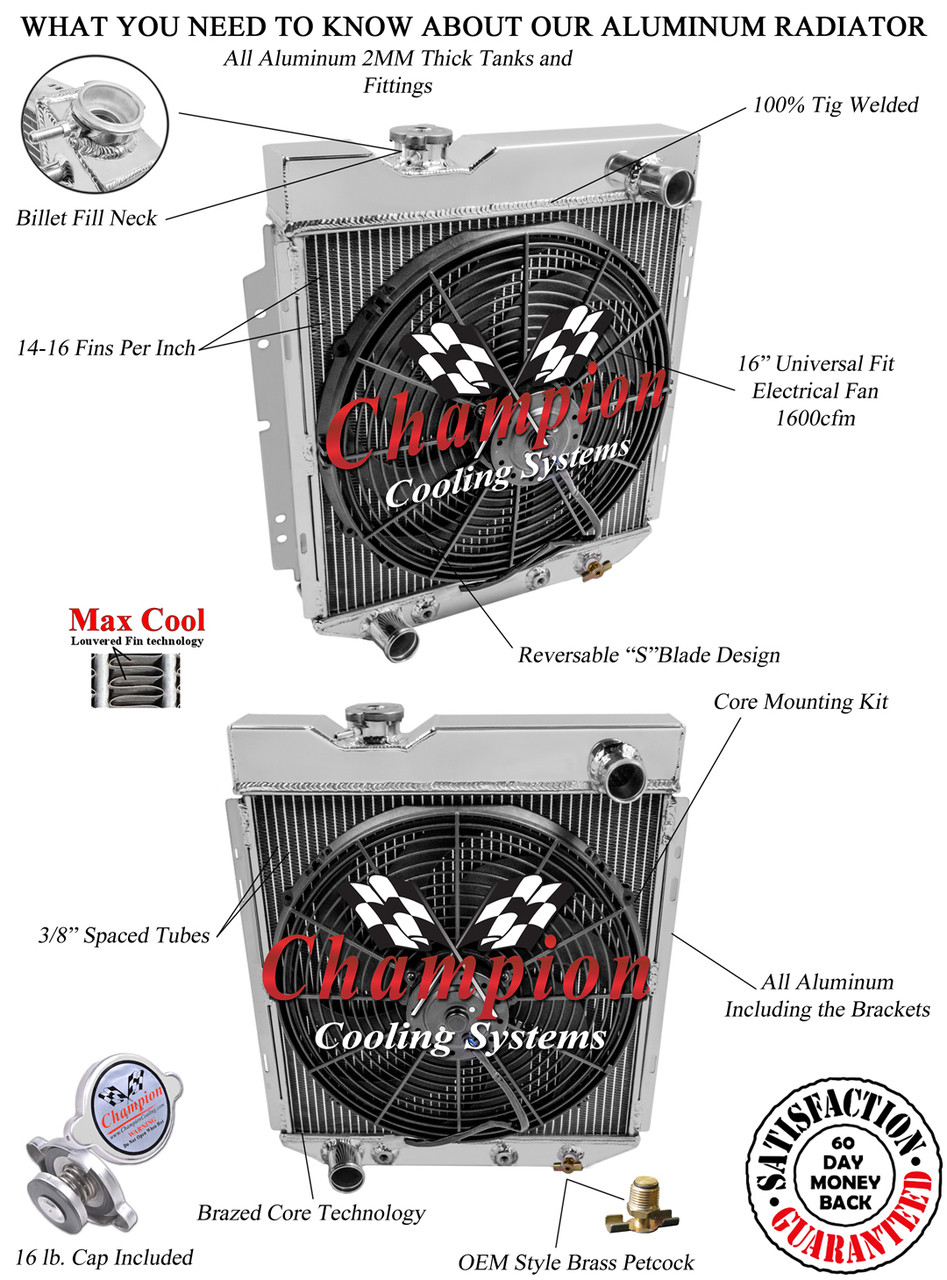 1960-1966 Ford Ranchero Radiator Champion 2-Row Core All Aluminum Radiator