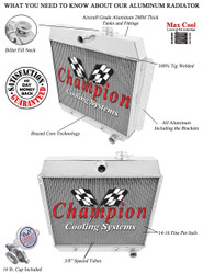 Champion 2 Row Core Aluminum Radiator For 1949 50 51 52 53 54 Chevrolet Cars For V8 Engines