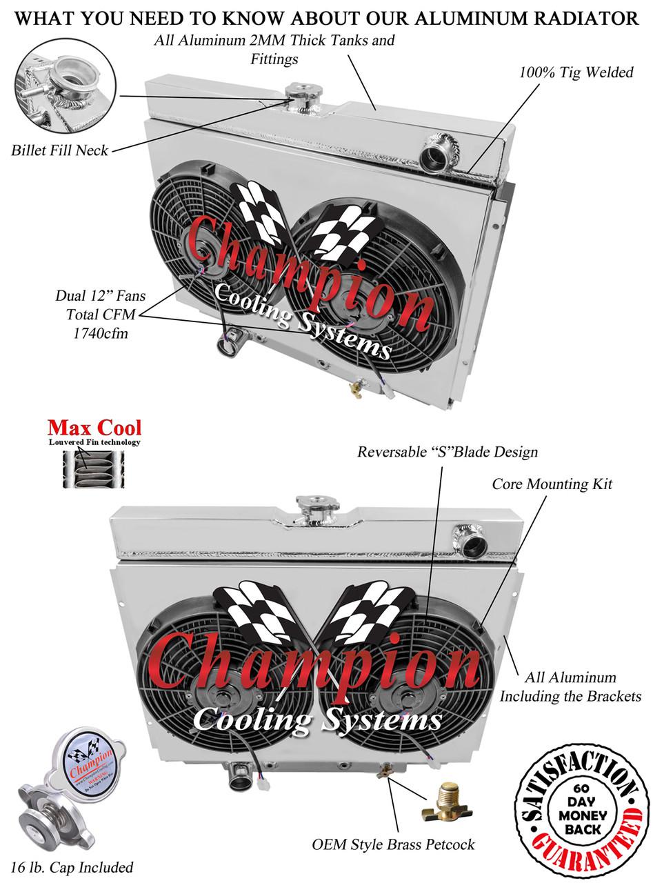 1967 1968 1969 Mercury Cougar Xr7 3 Row Radiator Aluminum Shroud Engine Diagram Larger More Photos