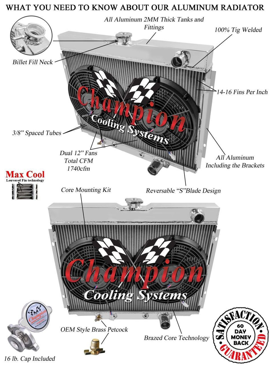 1967 1968 1969 1970 Ford Mustang 3 Row Aluminum Radiator 12 Fans Cooling Diagram Image 1