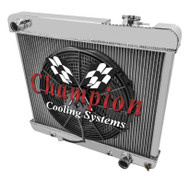 1965 1966 Oldsmoblie Cutlass Champion Aluminum Radiator +  2500cfm Electric Fan