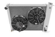 "1967 1968 1969 Chevy Camaro 4 Row Aluminum Radiator + Fan for SB 20"" WIDE CORE."