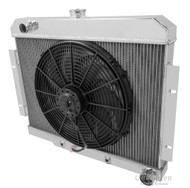 1970-1985 JEEP CJ SERIES W/CHEVY CONFIG RADIATOR + FAN