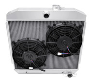 1955 1956 1957 Chevy Biscayne Aluminum Radiator + Dual 10 Inch Fans