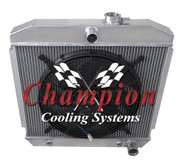 1955 1956 1957 Chevy Bel Air Aluminum Radiator +16 inch Electric Fan