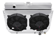 1965 1966 1967 Chevy Chevelle 4 Row Champion Radiator + Shroud and Fans