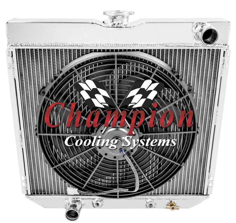 1970 71 72 Chevy C//K Series 2 Row Champion Aluminum Radiator Fan Combo