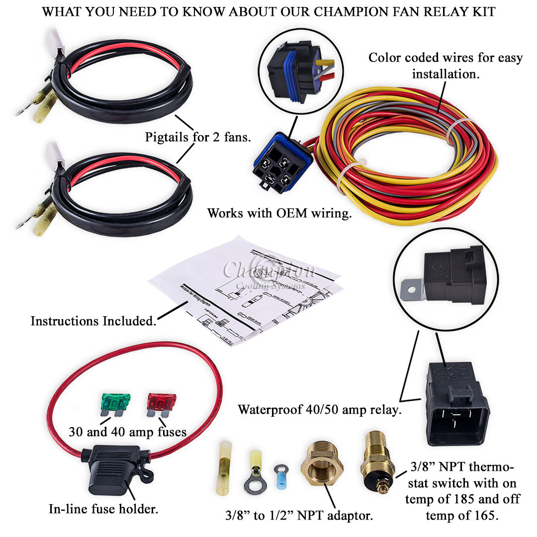 Champion Cooling 180 Degree 40amp Electric Fan Relay Kit for Single on