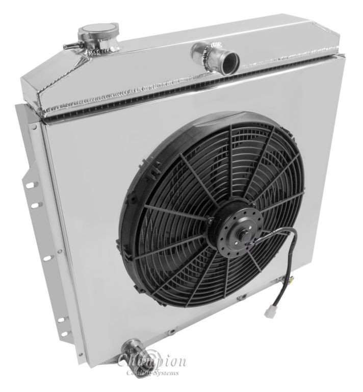 "Champion 3 Row Aluminum Radiator W// 16/"" Fan for 1954-1956 Ford Cars"
