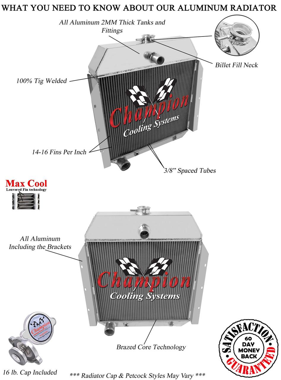 3Row Aluminum Radiator For 1941-1949 International Trucks 1946 1947 1948 1949