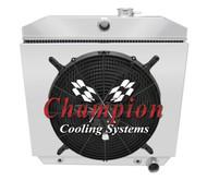 1955 1956 1957 Chevy Cars w/ V8 Mount 3 Row Aluminum Radiator Fan Shroud Combo