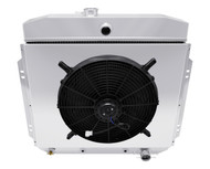 1957-1960 Ford F-Series Pickup 3 Row Aluminum Radiator for Chevy Eng Shroud Fan Combo