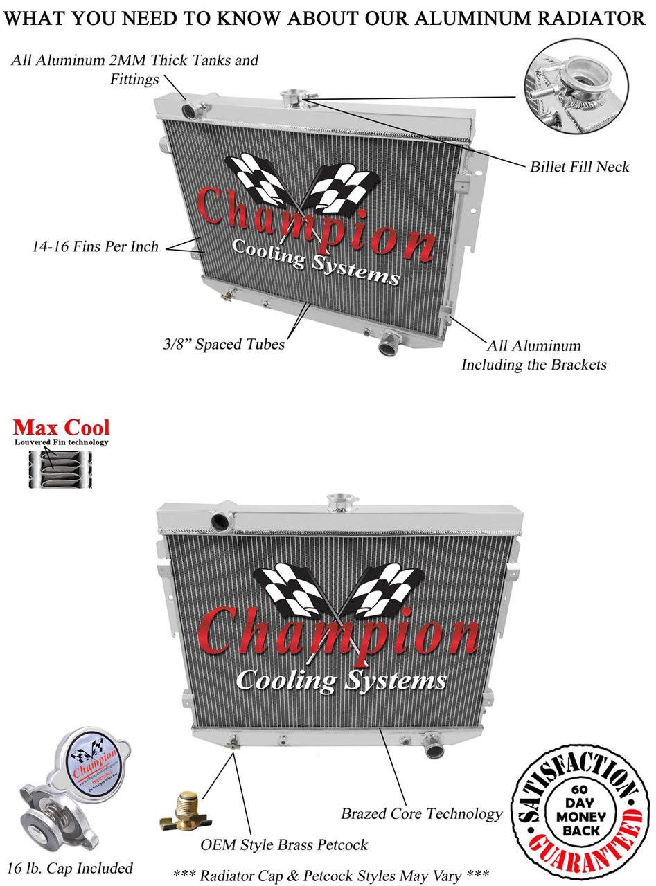 1973-1974 Mopar 7.2 440 V8 Aluminum 3 Row Champion Radiator