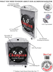"1941 1942 1943 1944 1945 1946 Chevy C/K Pickup 3 Row All Aluminum Radiator Plus 16"" Electric Fan"