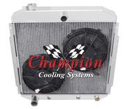 1953 54 55 56 Ford Truck 4 Row Champion Aluminum Radiator Plus Dual Fans Combo