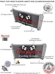 1978 79 80 81 82 83 Chevy Malibu 4 Row Champion Aluminum Radiator Fan Combo