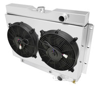 "2 Row Radiator with 1 Inch Tubes (Power Steering Notched Tank),  Dual 12"" Fans, Shroud for 1959 - 1963 Chevy Impala"