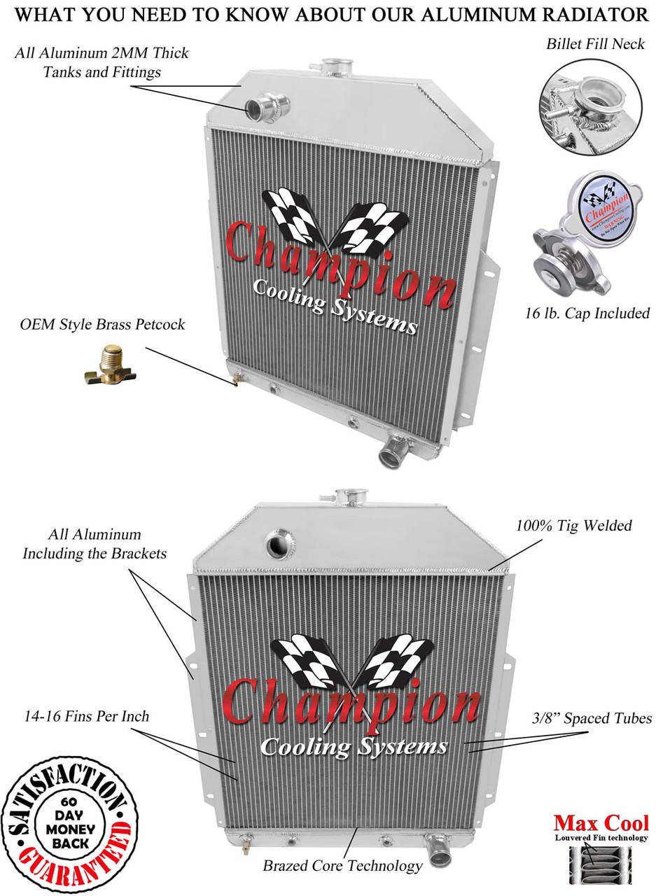 1942-1952 Ford Truck Chevy V8 Config Champion 3 Row Full Aluminum Radiator