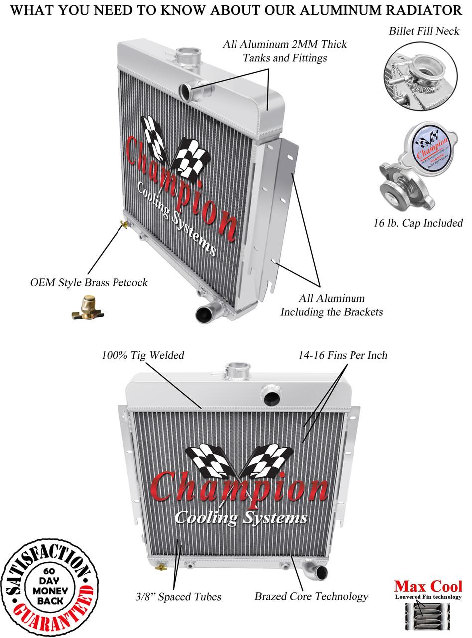 "2 Row 1/"" SZ Champion Radiator for 1970-1974 Dodge Challenger Big Block V8"