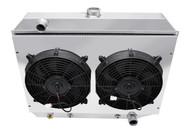 1968 69 70 71 72 73 Dodge Coronet 3 Row Champion Aluminum Radiator Dual Fan Shroud Combo for Small Block CC374-FS12C