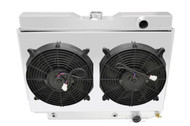"3 Row Radiator (Power Steering Box Notched), Dual 12"" 1500cfm Fans, Shroud for 1959 - 1963 Chevy Cars"