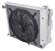 1987-2004 Jeep Wrangler YJ Chevy V8 Conv  Champion 3 Row Core Crossflow Aluminum Radiator Plus Electric Fan