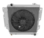 1987-2004 Jeep Wrangler YJ Chevy V8 Conv Champion 3 Row Core Aluminum Radiator Plus 16in Electric Fan