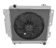 1987-2004 Jeep Wrangler YJ Chevy V8 Conv Champion 3 Row Core Aluminum Radiator Plus 16in Electric Fan