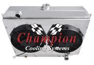 1970 71 72 73 74 Dodge Charger 3 Row Aluminum Radiator Fan Shroud Combo