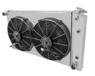 1965 66 67 68 669 70 71 72 73 74 75 76 77 78 79 80 81 82 Cadillac 4 Row Aluminum Radiator Fan Shroud Combo including Relay Thermostat Kit