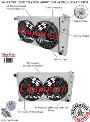 "1968 -1975 76 77 78 79 Chevy Nova 4 Row Champion Aluminum Radiator 26"" Wide Core Fan Shroud Combo"
