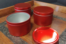 8 oz Holiday Red Tin Containers w/ Lids ***Limited Time Only***