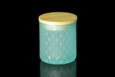 8 oz Aqua Textured Matte Jar W/Lid