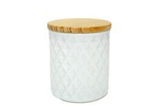 8 oz White Gloss Textured Matte Jar W/Lid