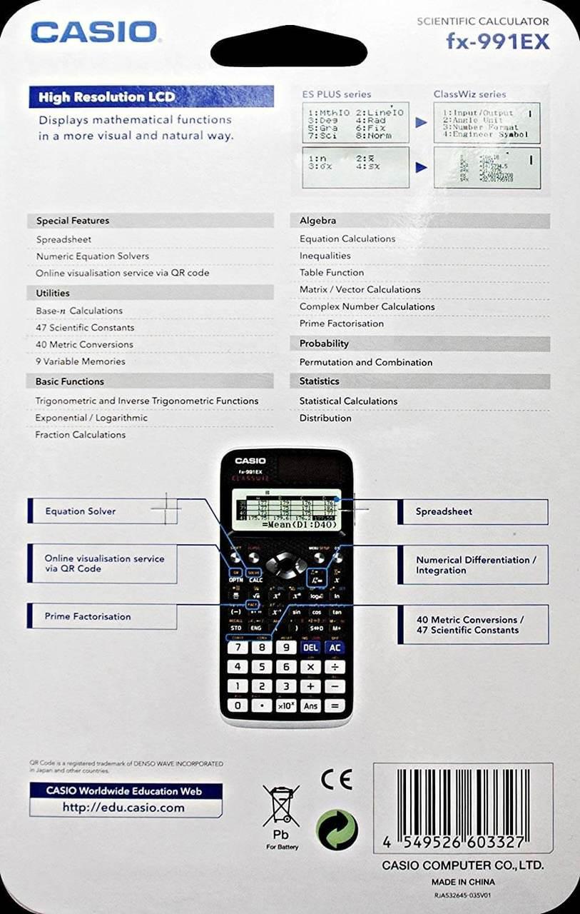 Casio FX-991EX Advanced Scientific Calculator - Black