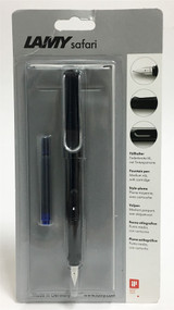 Lamy Safari Shiny Black Fountain Pen Medium Nib Case Blue Ink Cartridge