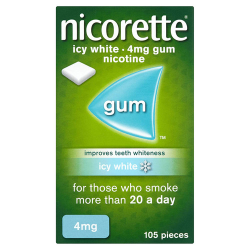 Nicorette Icy White Chewing Whitening Gum, 4 mg, 105 Pieces