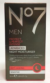 No7 Men Protect & Perfect Intense Advanced Night Moisturiser Anti-Ageing Sensitive 50ml