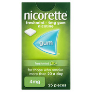Nicorette Freshmint Chewing Gum, 4mg, 25 Pieces (Stop Smoking Aid)