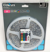 Colours Emmett LED Strip Light 5 Metres White RGB Mains Powered 400L IP65 Remote