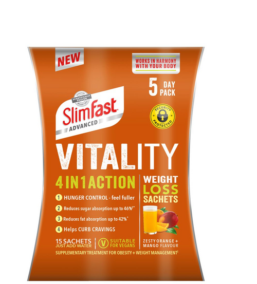 Slimfast Advanced Vitality 4in1 Action Weight Loss Sachets  15 Sachets 5 Day Pack